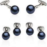 Navy Blue Swarovski Pearl Formal Set
