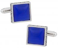 Detailed Blue Glass Cufflinks