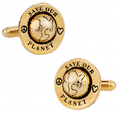 Save Our Planet Cufflinks in Gold