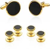 Tuxedo Cufflinks and Studs - Black Onyx with Gold Tone | Canada Cufflinks