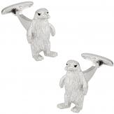 Silver Penguin Cufflinks with Swarovski Eyes   Canada Cufflinks