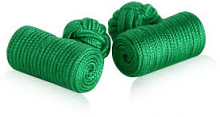 Log Style Green Knot Cuff Links