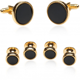 Black Gold Cufflinks and Studs