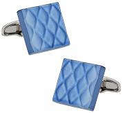 Quilted Metallic Blue Cufflinks