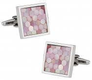 Honeycomb Cufflinks in Pink Mother of Pearl