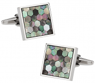 Honeycomb Cufflinks in Smokey Mother of Pearl