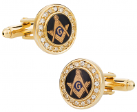 Crystal Gold Masonic Cufflinks