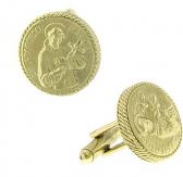 "Vatican Gold-Tone ""Jesus Christ"" Cufflinks"