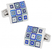 Quilted Cufflinks in Blue   Canada Cufflinks