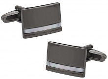 Gun Metal Cufflinks in Mother of Pearl.