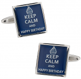 Keep Calm Happy Birthday Cufflinks