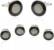 Pearlized Sterling Set of Cufflinks & Studs