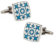 Blue & White Fleur Di Lis Cuff Links