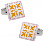 Pink Yellow Enamel Cufflinks | Canada Cufflinks