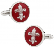 Fleur de Lis Cufflinks in Red