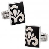 Black White Fleur Cufflinks