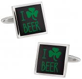 I Love Beer Irish Cufflinks