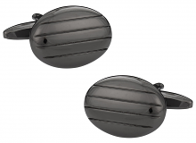 Gun Metal Cufflinks in Oval Stripes