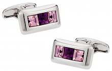 Michael Soho Design Crystal Cufflinks in Purple