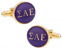 Sigma Alpha Epsilon Purple Gold Cufflinks | Canada Cufflinks
