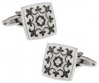 Gray & White Fleur Di Lis Cufflinks