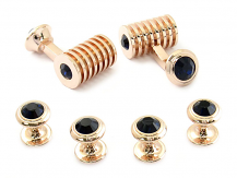 Rose Gold Blue Swarovski Barrel Formal Set | Canada Cufflinks