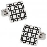 Black White Enamel Square Cufflinks