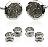 Silver Diamond Dust Tuxedo Cufflinks and Studs