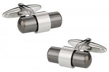 Silver Gunmetal Banded Cufflinks