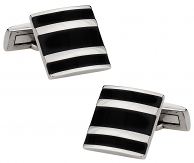 Titanium and Black Enamel Cufflinks