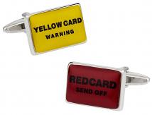 Red & Yellow Soccer Football Card Cufflinks